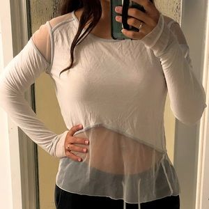 Alo Yoga Mesh Sheer Panel Long Sleeve Yoga Shirt